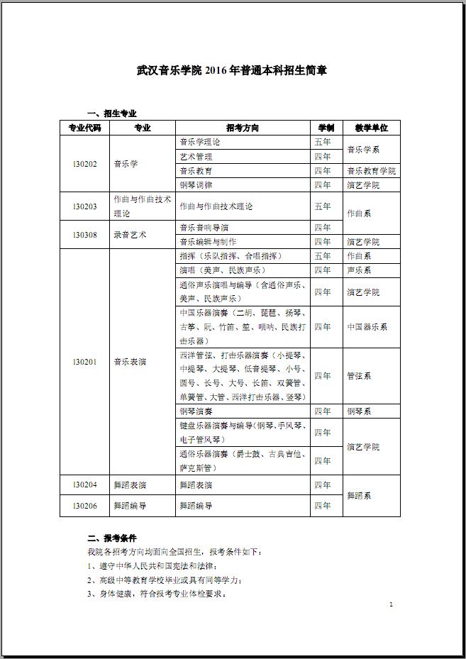 武汉音乐学院2016年本科招生简章